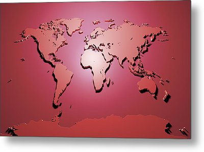 World Map In Red Metal Print by Michael Tompsett