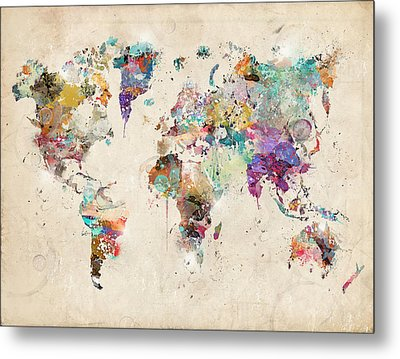 World Map Watercolor Metal Print