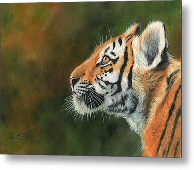 Metal Print featuring the painting Young Amur Tiger  by David Stribbling