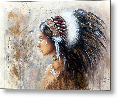 Young Indian Woman Wearing A Big Feather Headdress A Profile Portrait On Structured Abstract Backgr Metal Print by Jozef Klopacka
