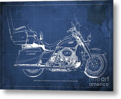 2006 Harley Davidson Cvo Ultra Classic Electra Glide Blueprint Blue Background Metal Print by Pablo Franchi