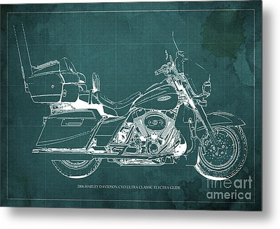 2006 Harley Davidson Cvo Ultra Classic Electra Glide Blueprint Green Background Metal Print by Pablo Franchi
