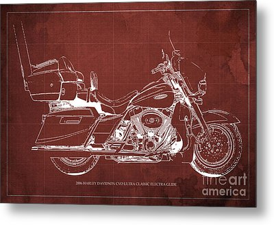 2006 Harley Davidson Cvo Ultra Classic Electra Glide Blueprint Red Background Metal Print by Pablo Franchi