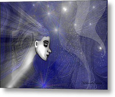201 -   Traveling  Through   Veils Of Universe Metal Print by Irmgard Schoendorf Welch