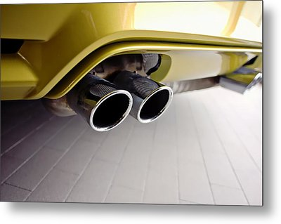 Metal Print featuring the photograph 2015 Bmw M4 Exhaust by Aaron Berg