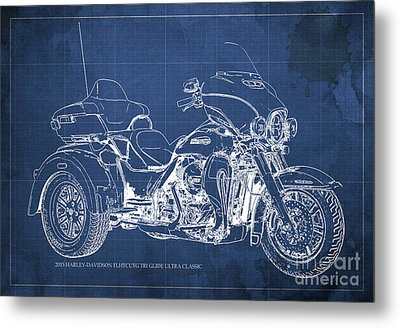 2015 Harley-davidson Flhtcutg Tri Glide Ultra Classic Blueprint Blue Background Metal Print by Pablo Franchi