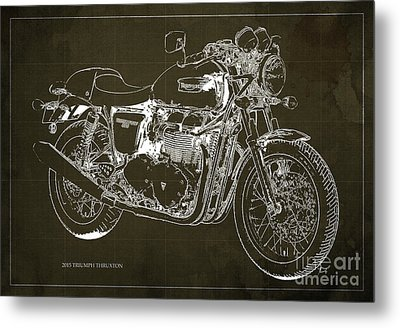 2015 Triumph Thruxton Blueprint Brown Background Metal Print by Pablo Franchi