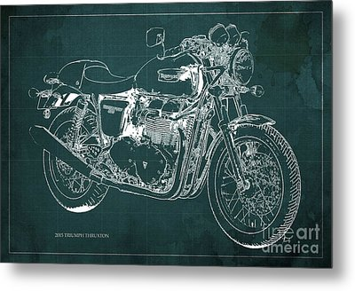 2015 Triumph Thruxton Blueprint Green Background Metal Print by Pablo Franchi