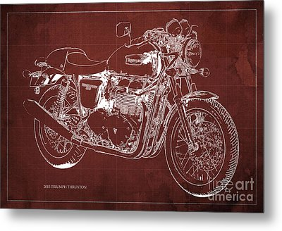 2015 Triumph Thruxton Blueprint Red Background Metal Print by Pablo Franchi