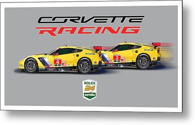 2016 Daytona 24 Hour Corvette Poster Metal Print by Alain Jamar