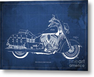 2016 Indian Chief Vintage Motorcycle Blueprint, Blue Background Metal Print by Pablo Franchi