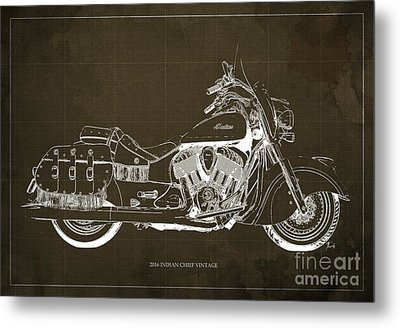 2016 Indian Chief Vintage Motorcycle Blueprint, Brown Background Metal Print by Pablo Franchi