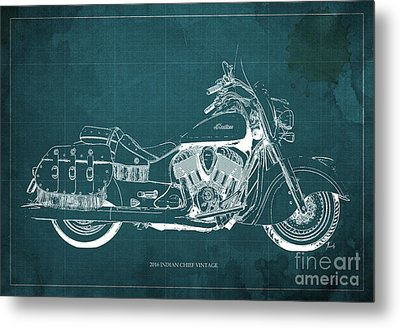 2016 Indian Chief Vintage Motorcycle Blueprint, Green Background. Gift For Men Metal Print by Pablo Franchi