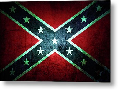 Metal Print featuring the photograph Confederate Flag by Les Cunliffe