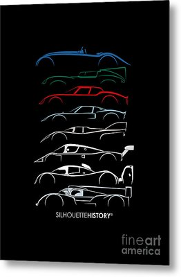 24 Hours Race Cars Silhouettehistory Metal Print