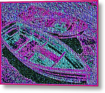 29a  Green Purple Rowboats Metal Print by Ed Immar