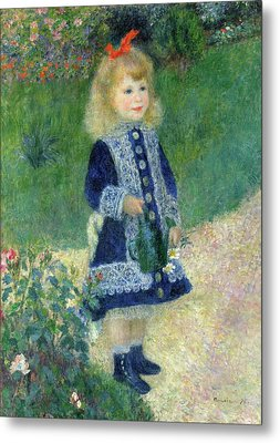 A Girl With A Watering Can Metal Print by Pierre-Auguste Renoir