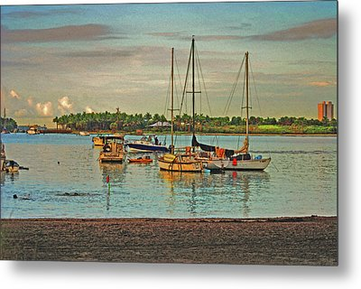 Metal Print featuring the digital art 3- Anchored Out by Joseph Keane