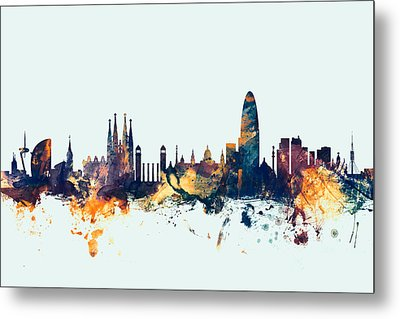Barcelona Spain Skyline Metal Print by Michael Tompsett