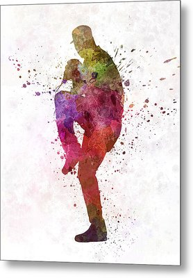 Baseball Player Throwing A Ball Metal Print by Pablo Romero