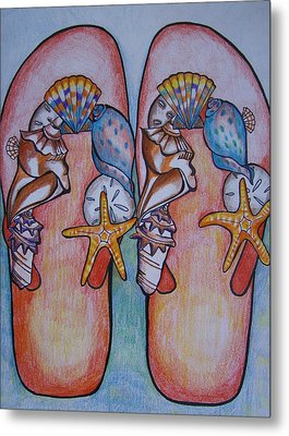Beach Shoes Metal Print by Leslie Manley