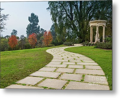 Beautiful Pathway Along The Rose Garden Of The Huntington Librar Metal Print by Jamie Pham