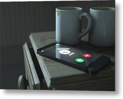 Bedside Table And Cellphone Metal Print by Allan Swart