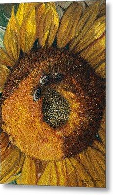 3 Bees Metal Print by Peter Muzyka