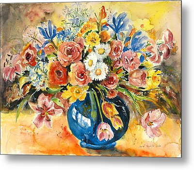 Blue Vase Metal Print by Alexandra Maria Ethlyn Cheshire