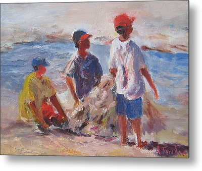 3 Boys And A Beach Metal Print by Albert Fendig