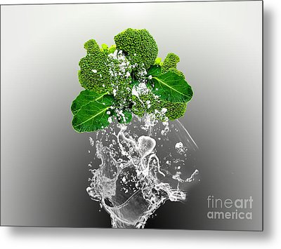 Broccoli Splash Metal Print by Marvin Blaine