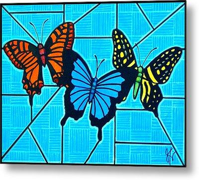 3  Butterflies On Blue Metal Print