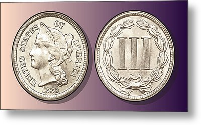 3 Cent Nickel Metal Print by Greg Joens