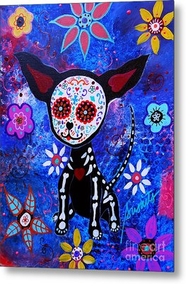 Chihuahua Day Of The Dead Metal Print by Pristine Cartera Turkus