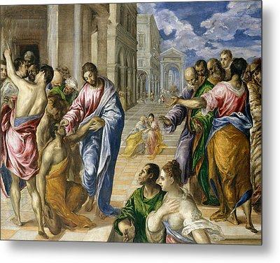 Christ Healing The Blind Metal Print