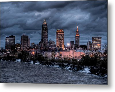Cleveland Skyline At Dusk From Edgewater Park Metal Print by At Lands End Photography