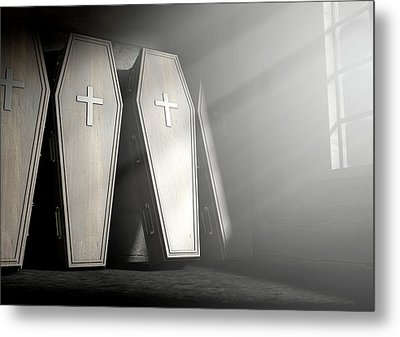Coffin Row In A Room Metal Print