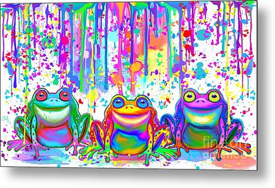 Metal Print featuring the painting 3 Colorful Painted Frogs by Nick Gustafson