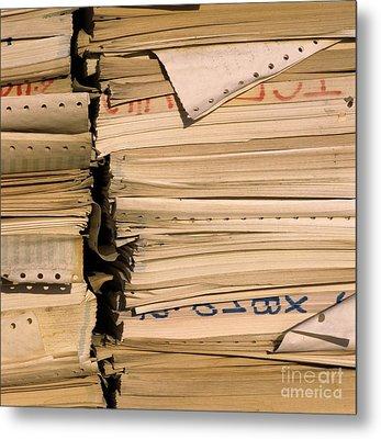 Compressed Pile Of Paper Products Metal Print by Bernard Jaubert