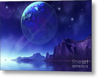 Cosmic Seascape On Another World Metal Print
