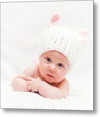 Metal Print featuring the photograph Cute Newborn Portrait by Gualtiero Boffi