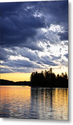 Dramatic Sunset At Lake Metal Print