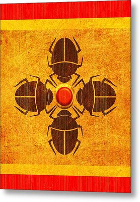 Metal Print featuring the digital art Egyptian Scarab Beetle by John Wills
