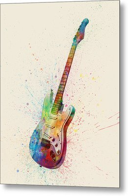 Electric Guitar Abstract Watercolor Metal Print