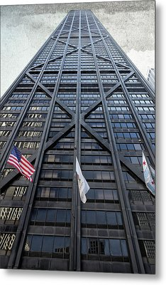 3 Flags Before Hancock Center - Chicago Metal Print
