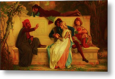 Metal Print featuring the painting Florentine Poet by Alexandre Cabanel