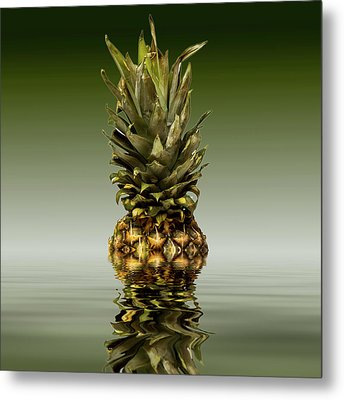 Metal Print featuring the photograph Fresh Ripe Pineapple Fruits by David French