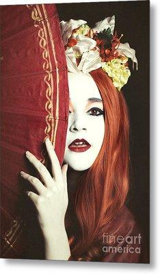 Geisha Girl Metal Print by Amanda Elwell