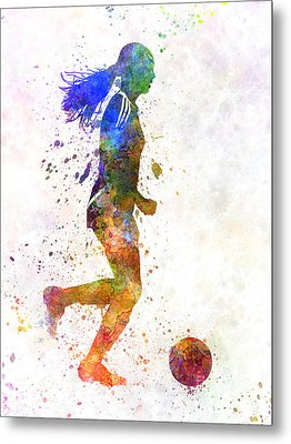Girl Playing Soccer Football Player Silhouette Metal Print by Pablo Romero