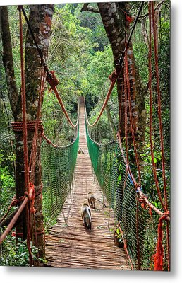 Metal Print featuring the photograph Hanging Bridge by Alexey Stiop
